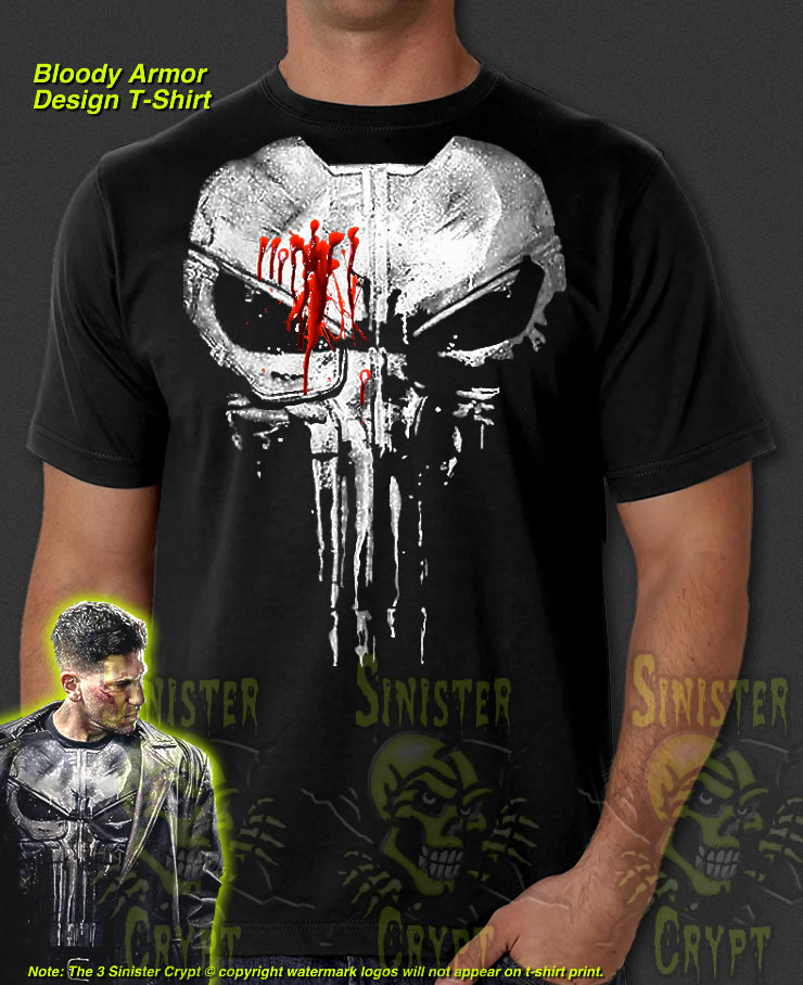 d278728cb The Punisher New Skull Jon Bernthal Frank Castle Bloody Body Armor Painted T -Shirt S