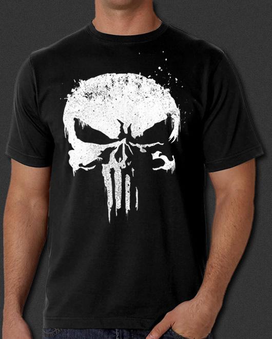 b62fa838 The Punisher New Skull Logo Frank Castle Daredevil Paint Splatter T ...