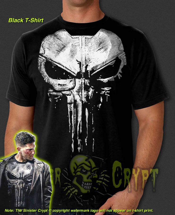a0670c170d7f39 Punisher Armor Skull Black t-shirt Jon Bernthal Frank Castle Painted S-6XL